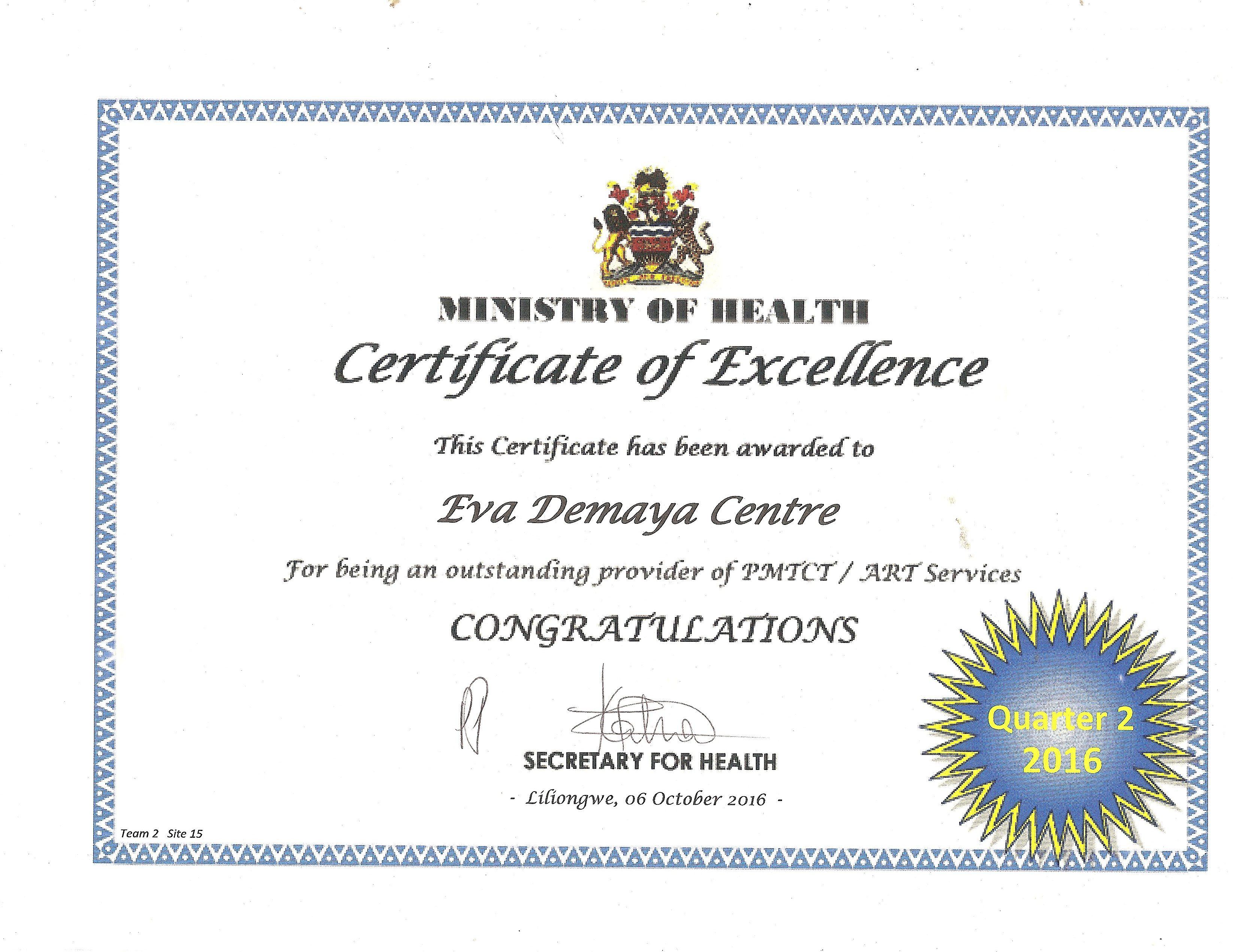 Certificate Of Excellence Eva Demaya Foundatio